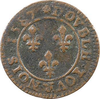Henri III, double tournois, 1587 Paris