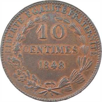 IIe République, essai de 10 centimes par Montagny, 1848 Paris, variété poids lourd