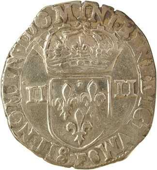 Henri III, quart d'écu croix de face, 1584 Angers
