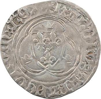 Charles VII, blanc à la couronne, 4e émission, cantonnement inversé, Troyes