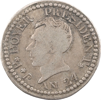 Haïti (République d'), Jean-Pierre Boyer, 25 centimes, An 24 (1827)