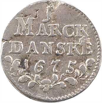 Danemark (royaume de), Christian V, 1 mark, 1675 Copenhague