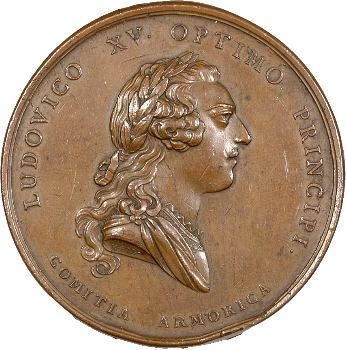 Louis XV, le débarquement britannique repoussé à la bataille de Saint-Cast, par Roettiers, 1758 Paris