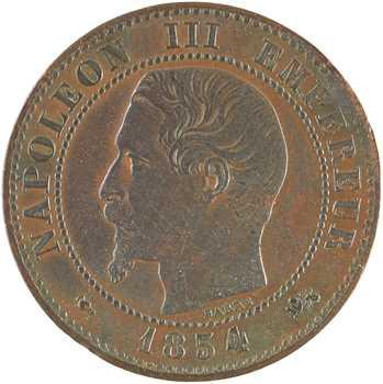 Second Empire, deux centimes tête nue, 1854 Lyon