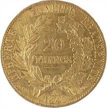 IIe République, 20 francs Cérès, 1849 Paris