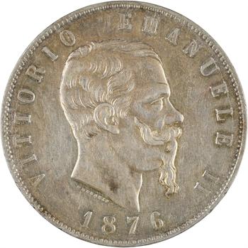 Italie, Victor-Emmanuel II, 5 lire, 1876 Rome