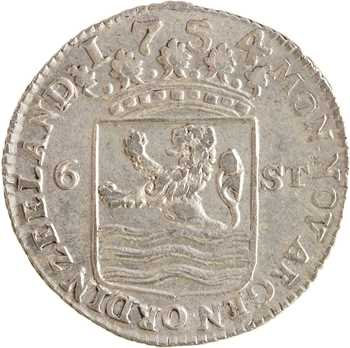 Pays-Bas, Zélande (province de), 6 stuivers, 1754
