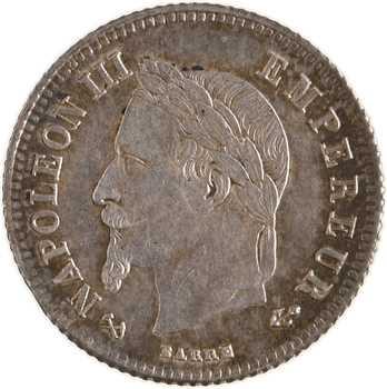 Second Empire, 20 centimes tête laurée petit module, 1866 Bordeaux