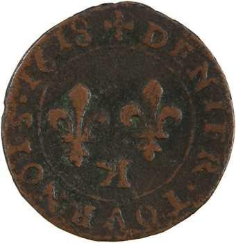 Louis XIII, denier tournois 1er type, 1618 Bordeaux