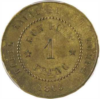 Suez (canal de), 1 franc Borel, Lavalley et Compagnie, 1865, PCGS MS63