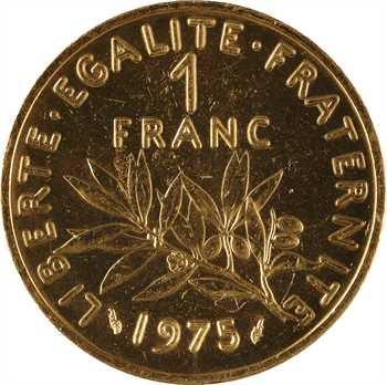 Ve République, piéfort de 1 franc Semeuse en or, 1975 Pessac, PCGS SP63