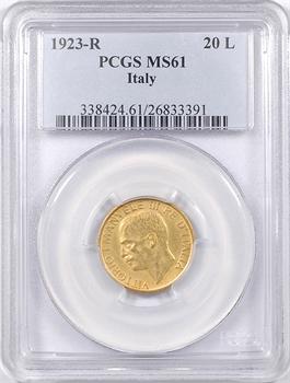 Italie, Victor-Emmanuel III, 20 lire commémorative, 1923 Rome, PCGS MS61