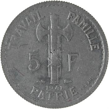 État français, essai uniface de 5 francs Pétain type III en zinc, tranche striée, 1941 Paris