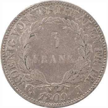 Allemagne, Westphalie (royaume de), Jérôme Napoléon, 5 franken, 1808 Paris (J) frappe médaille