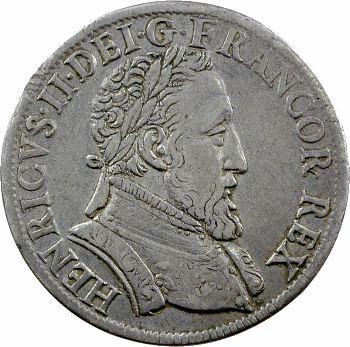 Henri II, teston frappé au moulin de Paris, 4e type, 1554