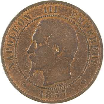 Second Empire, dix centimes tête nue, 1857 Marseille