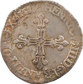 Henri III, quart d'écu croix de face, 1588 Rouen
