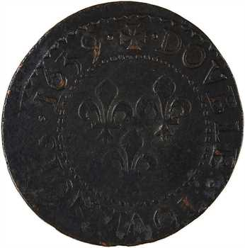 Louis XIII, double tournois 14e type, 1639 La Rochelle