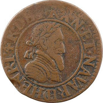Henri IV, double tournois 2e type (NAVAR), 1592 Châlons-en-Champagne