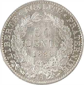 IIIe République, 50 centimes Cérès, 1886 Paris