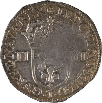 Louis XIII, quart d'écu, écu de face, 1643 Nantes