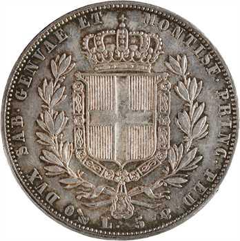 Italie, Savoie-Sardaigne, Charles-Albert, 5 lire, 1843 Gênes