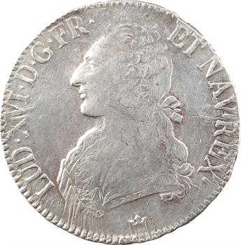 Louis XVI, écu aux branches d'olivier, 1782 Toulouse