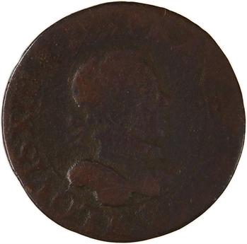 Louis XIII, double tournois 2e type, 1615 Amiens