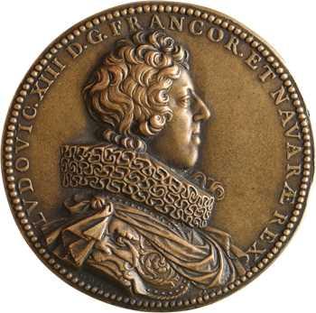Louis XIII, la fin de la première rébellion huguenote et la Paix de Montpellier, fonte ancienne par Dupré, 1623 Paris
