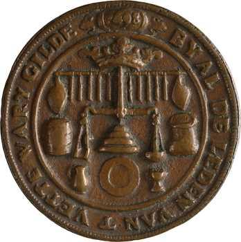 Pays-Bas (Provinces Unies), Middelburg, méreau de la gilde des graissiers (vettewariers), 1698 Middelbourg