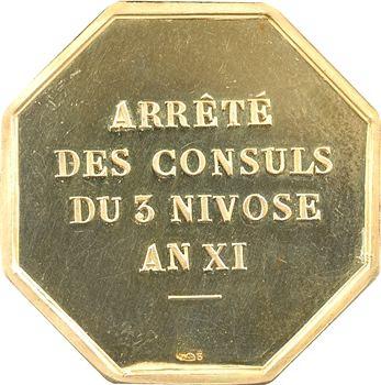 Ve République, Havre de Grâce, jeton Or de la la Chambre de Commerce, par Delannoy, An XI Paris (postérieur)