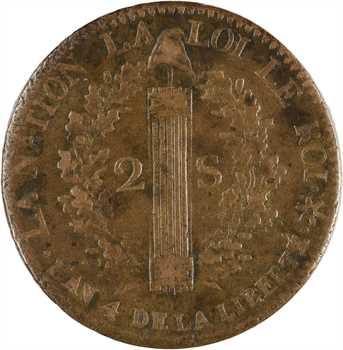 Constitution, 2 sols FRANÇAIS, An 4, 1792 Strasbourg