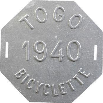 Togo, plaque de taxe de bicyclette, 1940