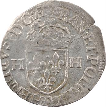 Henri III, douzain aux 2 H 1er type, 1586 Troyes