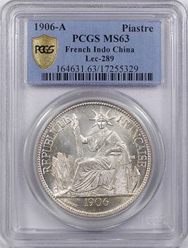 Indochine, 1 piastre, PCGS MS63, 1906 Paris