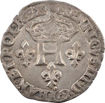 Henri III, double sol parisis, 2e type, 1584 Troyes