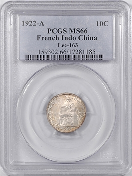 Indochine, 10 centièmes, 1922 Paris, PCGS MS66