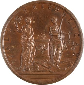 Louis XV, pacification de la Suisse par J. Dassier, 1738 Genève