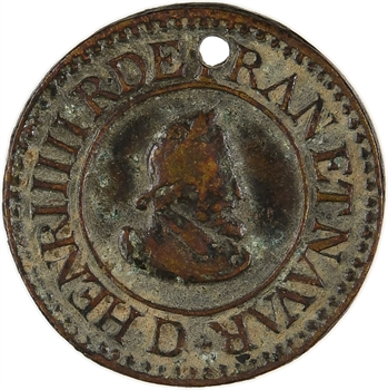 Henri IV, denier tournois, faux postérieur, (1607 Lyon), XIXe siècle