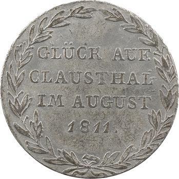 Allemagne, Westphalie (royaume de), Jérôme Napoléon, 2/3 de thaler, visite des mines de Clausthal, épreuve en plomb, 1811 Clausthal