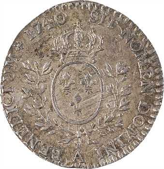 Louis XV, vingtième d'écu au bandeau, 1740, 2d semestre, Paris