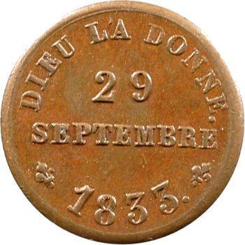 Henri V, médaillette de sa majorité, 29 septembre 1833
