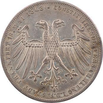 Allemagne, Francfort (ville de), 2 gulden d'hommage, archiduc Jean d'Autriche, 1848 Francfort