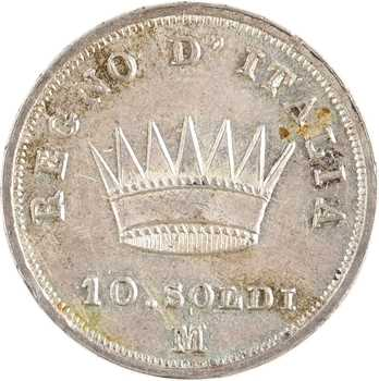 Italie, Napoléon Ier, 10 soldi tranche en creux, 1812 Milan