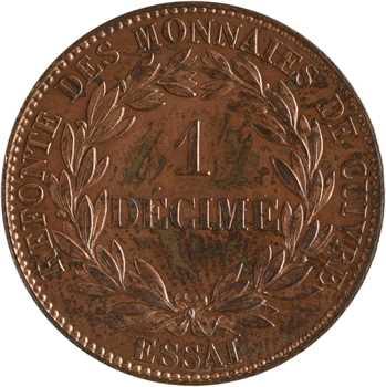 Louis-Philippe Ier, essai d'1 décime, refonte des monnaies de cuivre, 1840 Paris