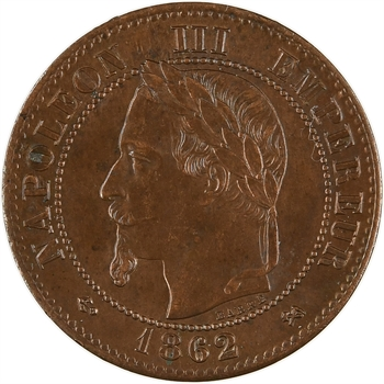 Second Empire, deux centimes tête laurée, 1862 Bordeaux