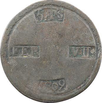 Espagne, Ferdinand VII, duro de 5 pesetas, faux d'époque, 1809 Tarragone
