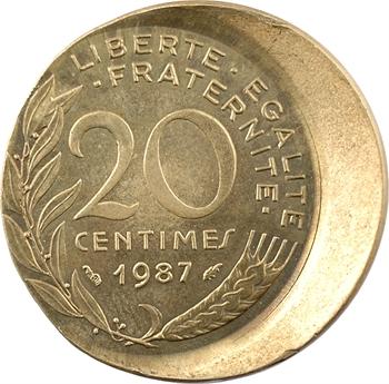 Ve République, 20 centimes Lagriffoul, double variété frappe décentrée (casquette) et incuse, 1987 Pessac