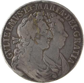 Royaume-Uni, Guillaume et Marie, demie couronne transformée en médaille de mariage, 1689-1778 Londres