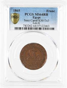 Suez (canal de), 1 franc Ch. et. A. Bazin, 1865, PCGS MS64 RB
